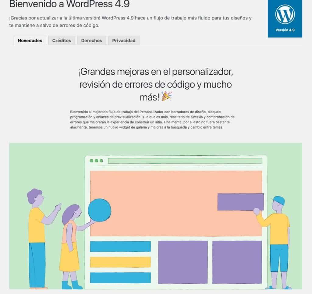WordPress se actualiza a la versión 4.9 1